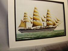 1921 Amerigo Vespucci Italy Sailing Ship  Model Ship Box Top Art Color by artist
