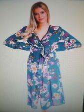Womens Ladies New Long Maxi Green Floral Print Cardigan/Kimono UK 8-16