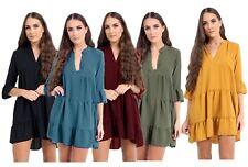 New Womens Ladies Plunged plain Frill Hem Shift Skater Dress Plus Size Top 16-26