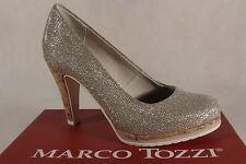 Marco Tozzi Décolleté Pantofole di Ballerina Oro Sottopiede Morbido 22403 Nuovo