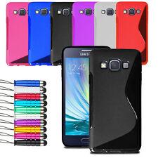 Pour Samsung Galaxy A3 2014 wave gel peau cas couverture de peau + film écran + stylet