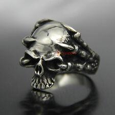 Dragon Claw Skull Skeleton Stainless Steel Men's Ring Gothic Demon Silver Biker