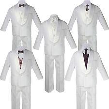 5-7pc Boys White Satin Shawl Lapel Suits Tuxedo BROWN Satin Bow Necktie Vest Set