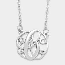 "Initial Necklace Curlique Pendant Letters A-T Monogram .75"" SILVER GOLD Gift"