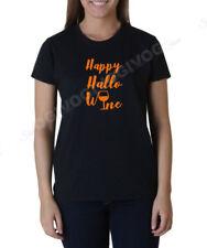Ladies Happy Hallo Wine T Shirt Halloween Hallowine Wine Lovers Tee T-shirt