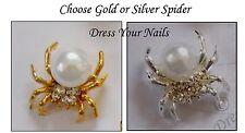 Spider 3d Metal Rhinestone/Pearl  Nail Art Craft Halloween Silver/Gold -  S-160