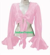 Pink Satin Belly Dance Tie Top Wrap Choli Gypsy Haut Orientale Blouse Ruffle