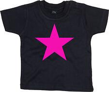 NEON PINK STAR Baby-T-Shirt, schwarz