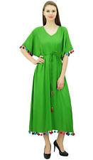 Bimba Womens Long Kaftan Dress With Pom Pom Maxi Caftan Designer Coverup