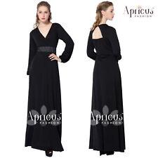 Women PlusSize Black Long Sleeve Elegant Party Maxi Prom Evening Dress 2X - 4X