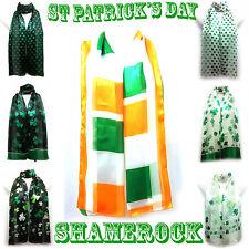 ST. Patrick IRISH SHAMROCK TRIFOGLIO stampa seta sciarpa Wrap Stola Scialle RM 1st Class