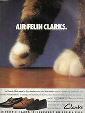 "PUBLICITE ADVERTISING  1990   CLARKS  chaussures "" air félin"""