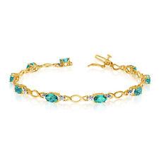 10K Yellow Gold Oval Emerald and Diamond Bracelet