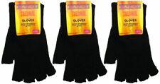 Bargain packs of Black Ladies/womens Thermal Fingerless Gloves, fast post