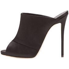 Women Men Plus Size Peep Toe Mules Satin High heels Stiletto Slippers Club Pumps