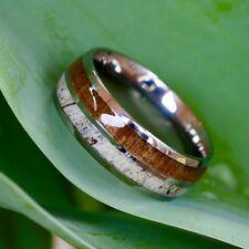 Natural Deer Antler Ring Koa Wood Titanium Mens Band Womens Wedding Ring Band