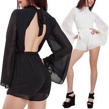 Overall donna tuta intera velata elegante shorts schiena nuda jumpsuit WD-2039