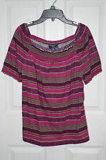 Chaps Purple / Multi Striped Print Smocked Peasant Top - Sizes PL / PXL