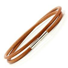 Mens/Ladies 3mm Greek Leather Bracelet-Sterling Silver Twist Clasp-Light Brown