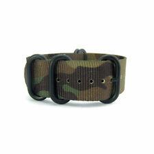 5-Ring Woodland Camo Nylon Military ZULU Watch Strap (Black 20mm, 22mm)