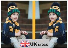 Baby Boy Girl Child Smile Face Beanie Hat Cap Scarf 2 Sets UK SELLER