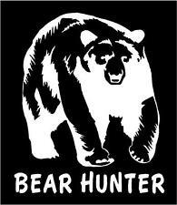 WHITE Vinyl Decal  Bear hunter grizzly black hunt bow gun country sticker truck