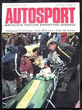 Autosport MAGAZINE 13 NOV 1969-FITTIPALDI F3 Champion, Indy McLaren, tour de corse