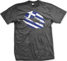 Greek Flag Colors Greece Lipstick Kiss Lips Heritage GRC GR From Men's T-Shirt