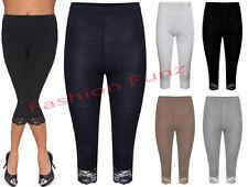 Womens 3/4 Length Leggings Ladies Floral Lace Cropped Trim Edge Jeggings Pants