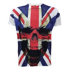 Union Jack Teschio T-shirt, Tatuaggio/ROCK/METAL/BIKER/Goth/tatuaggio/Natale/alto/TEE