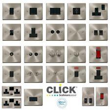 Click Deco Victorian Satin Chrome Switches & Sockets Full Range Black Inserts