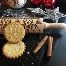 Christmas Elk Embossing Rolling Pin Xmas Baking Cookie Cake Fondant Kitchen Tool