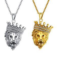 Herren Damen Halskette Edelstahl Kristall Krone Löwe Anhänger Leo Kette - X1379