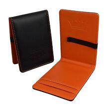 PORTAFOGLIO da uomo soldi Clip titolare della carta ID Card VIAGGIO PU Cuoio Nero Arancione