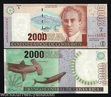 COSTA RICA 2000 COLONES P265 2005 DOLPHIN SHARK COCO ISLAND UNC LATINO BILL NOTE