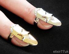 Nueva Plata Estrella De Oro Diamante Nail Art punta del dedo Anillo De Garras Moda Punk Gótico