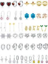 VOROCO 925 Sterling Silver Earring Stud Huggie Long Chain Women Jewelry Multiple