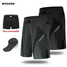 Mens Cycling Baggy Shorts Padded MTB Mountain Bike Loose-Fit Short Pants Summer
