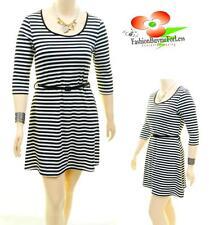 Women PLUS Knit Jersey Strip A-Line Fit & Flare Patent Belt 3/4 Sleeve B/W Dress