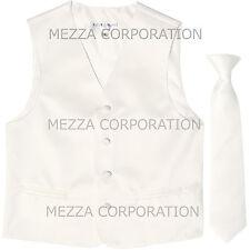 New Kids Boys Formal Tuxedo Vest Necktie White US Sizes 2-14 Wedding Party