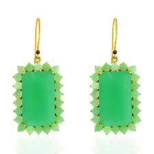 29.25ct Chrysoprase Diamond 18kt Solid Yellow Gold Hook Earrings Women Jewelry
