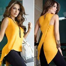 1Pc Women's Summer Blouse Casual Sleeveless Slim Slit Irregular Slit Solid Chiff