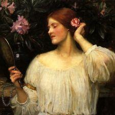 VANITY LADY MIRROR HAIR FLOWER SALON 1910 FINE PAINTING BY J W WATERHOUSE REPRO