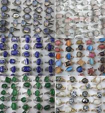 Newest bulk Lots 25 nature stone Multicolor Classic Women Fashion Ring #13-18