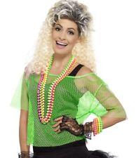 Ladies 80s 80's 1980s Fancy Dress Mesh Top Fishnet Net Green T Shirt by Smiffys