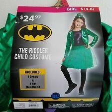 New Riddler Girl Halloween Costume Cosplay S 4-6 M 8-10 Dress Hat Batman Villain