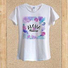 Aloha Hawaii print Pink Flowers Purple Leaves T-shirt 100% Cotton unisex women