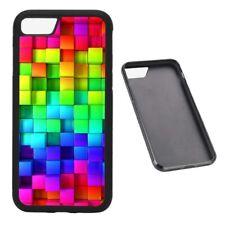 Rainbow Blocks RUBBER phone case Fits iPhone