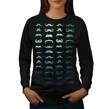 Wellcoda Mustache Stylish Fashion Womens Sweatshirt, Hair Casual Pullover Jumper