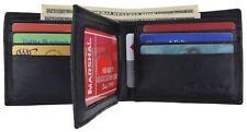Men's Genuine Leather Bifold Wallet ID Credit Card Flap Top Front Pocket